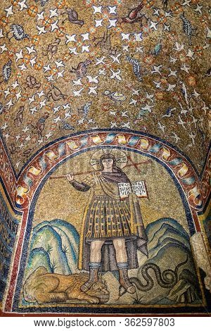 Ravenna, Italy - Sept 11, 2019:  Mosaics Of The Chapel Of Sant Andrea Or Archiepiscopal Chapel  In R