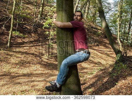 Man Love Nature Hug Tree Forrest Save  Planet, Climate Change, Increases Levels Of Hormone Oxytocin,
