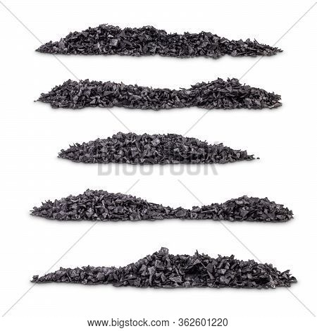 Plie Of Hawaiian Volcanic Black Salt On White Background