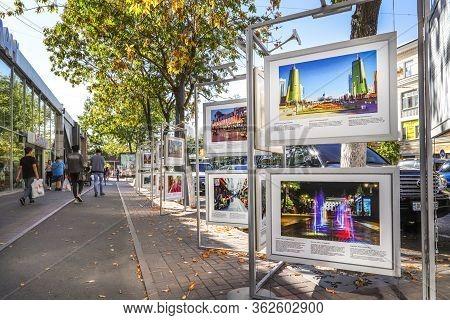Almaty, Kazakhstan - September 22, 2019 - Photo Exhibition On Gogol Street, Next To The Meloman Stor