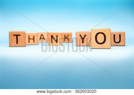 Thank You On Blue Medical Background. Thank You Made With Cubes. Message Of Gratitude Thanks To Help