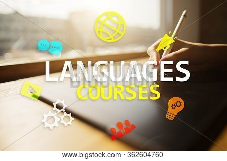 Language Courses, Online Learning, English Shool, E-learning Concept On Virtual Screen.