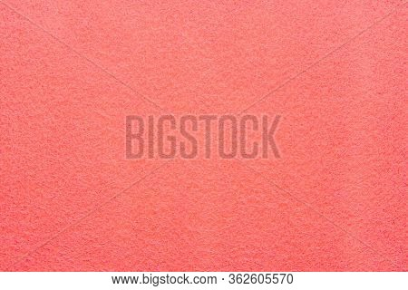 High Resolution Close Up Of Bright Coral Felt Fabric Texture Of Rough Fleecy Fabric Of Coral Color F