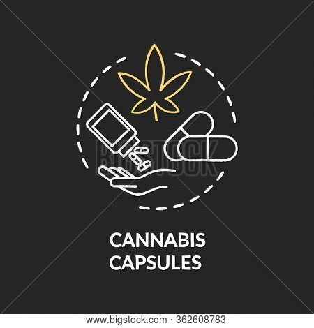 Cannabis Capsule Chalk Rgb Color Concept Icon. Medical Marijuana, Mmj Prescription Idea. Capsule Pil