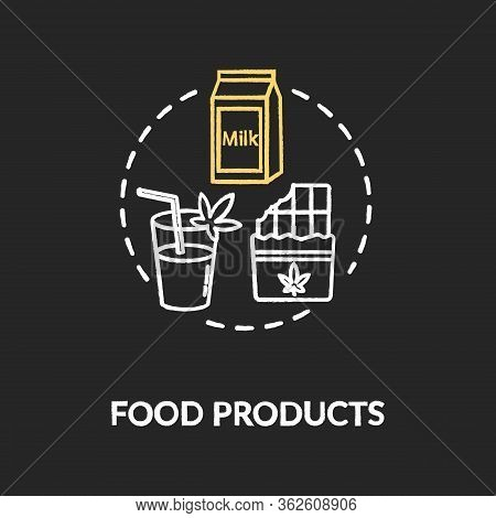 Food Products Chalk Rgb Color Concept Icon. Cannabis Infused Food, Edible Hemp Products Idea. Snacks