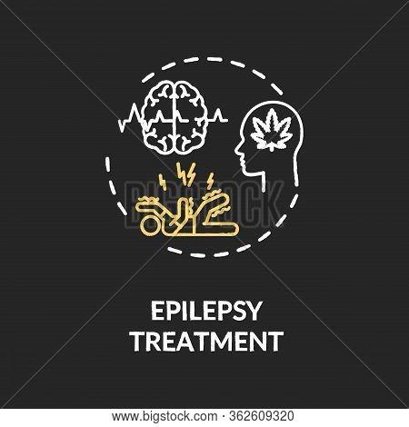 Epilepsy Treatment Chalk Rgb Color Concept Icon. Medical Cannabis, Mmj Use, Hemp Medicine Idea. Epil