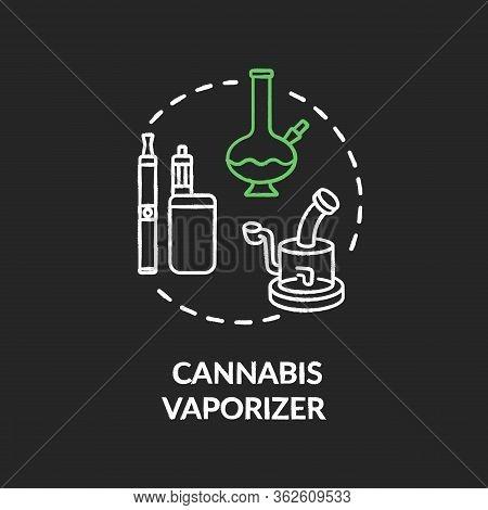 Cannabis Vaporizer Chalk Rgb Color Concept Icon. Marijuana Extract Smoking, Vaping Idea. Smoking Mar
