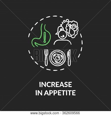 Increase In Appetite Chalk Rgb Color Concept Icon. Cannabis Consumption, Marijuana Side Effect Idea.