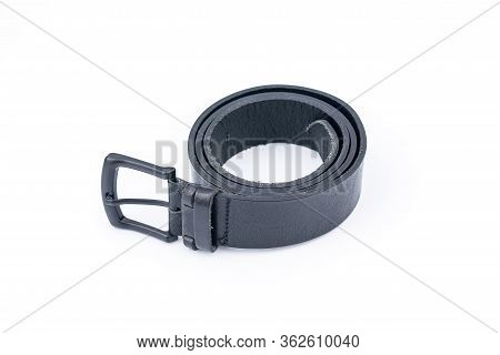 Classic Black Mens Leather Belt With A Metal Buckle On White Background