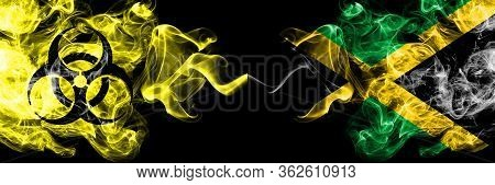 Quarantine In Jamaica, Jamaican. Coronavirus Covid-19 Lockdown. Smoky Mystic Flag Of Jamaica, Jamaic