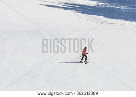 Fairmont Hot Springs, Canada - March 16, 2020: Freeride Skier Going Down Hill.