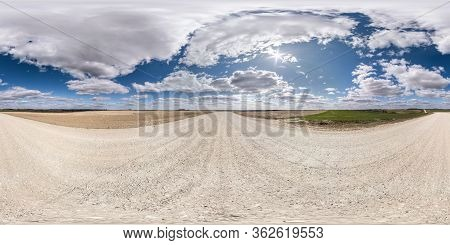 Full Seamless Spherical Hdr Panorama 360 Degrees Angle View On White Sand Gravel Road Among Fields I