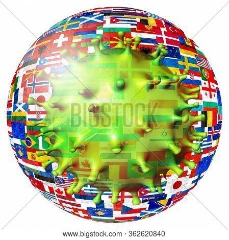 Covid-19 Outbreak Or Novel Coronavirus, 2019-ncov, Cell Virus Of World Flags. Covid 19-ncp Virus: Co