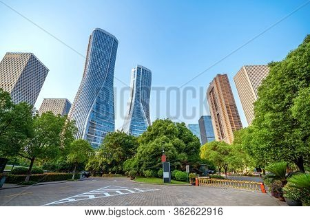 City Square And Modern Skyscrapers, Hangzhou, China.