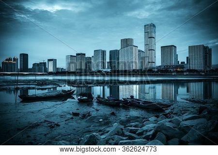Modern City Skyline, Fuzhou, China At Night.