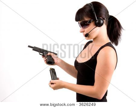 Girl With Pistol And Headphones.