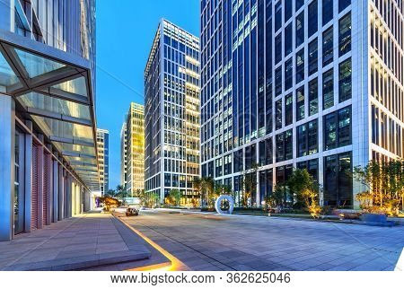 City Square And Modern High-rise Buildings, Night View Of Jinan, China.