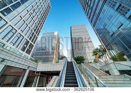 Financial District Skyscrapers And Escalators, Jinan, China.