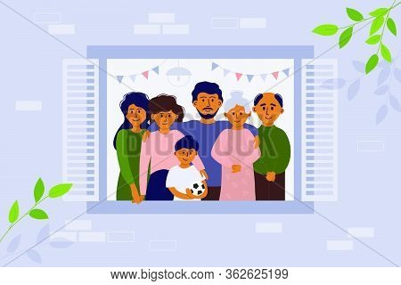 Stay Home Concept. House Facade. Vector Illustration Of Big Family Looking Out Of Window. Seniors An