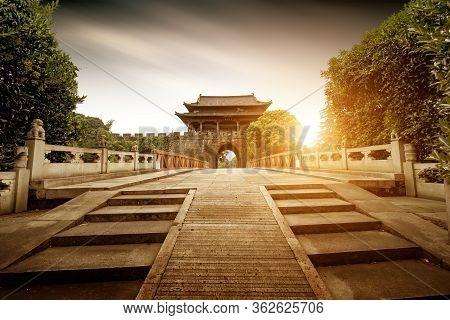 Shaoxing Ancient City Wall And Moat, China Zhejiang.translation: