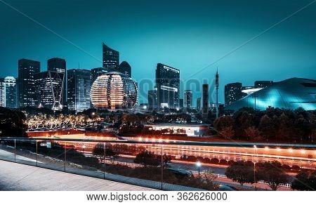 Architectural Night View, Hangzhou, China Qianjiang New City Cbd.