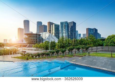 The Modern Architecture Of Hangzhou Qianjiang New City Cbd, Zhejiang, China.