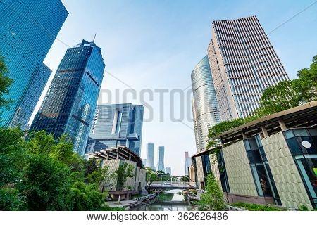 Jiangnan Water Town Style Urban Landscape, Hangzhou, China.