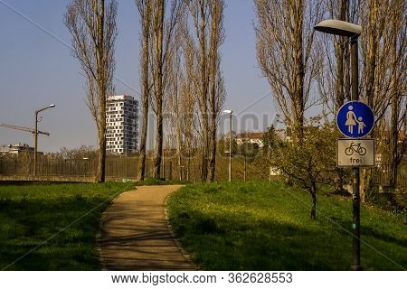 Stuttgart,germany - March 28,2020:loewentorbruecke This Is The View From The Beginning Of A Small Pa