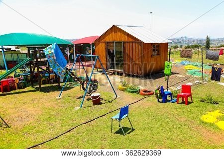 Soweto, South Africa - November 16, 2012: Empty Preschool Creche Playground In Local Township Neighb