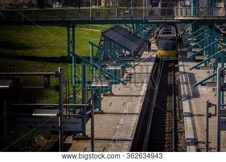 Stuttgart,germany - March 28,2020:pragsattel These Are Two Platforms Of The Modern Tram Station,wher