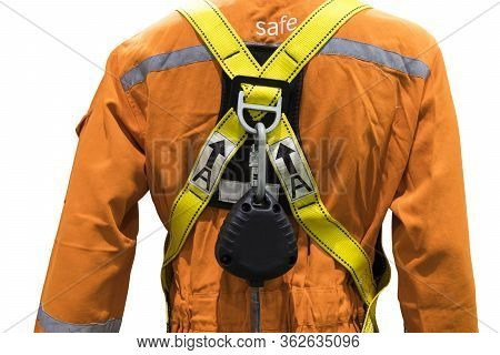 Industrial Safety Harness ; Equipment For High Ground Working  ;isolated White Background