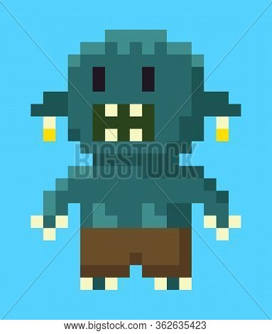 Monster Pixel Character, Portrait And Full Length View Of Beast With Teeth, Robot Or Orge In Flat De