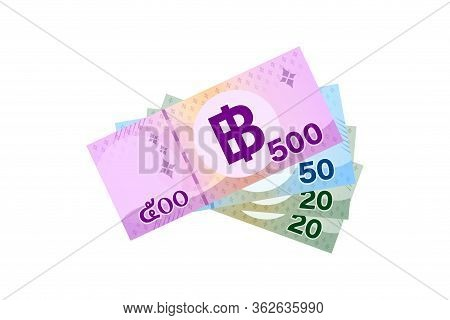 Thai Banknote Money 590 Baht Isolated On White, Thai Currency Five Hundred And Fifty Thb Concept, Mo