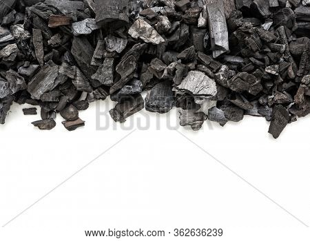 Natural wooden charcoal on white background