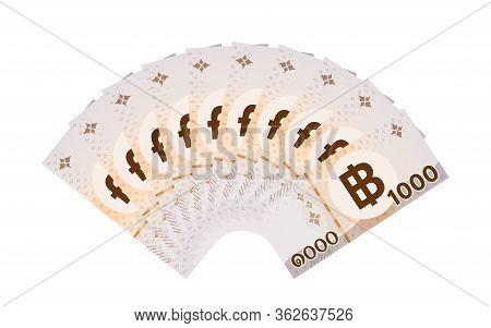Banknote Money 10,000 Baht Thai Isolated On White, Thai Currency Ten Thousand Thb Concept, Money Tha