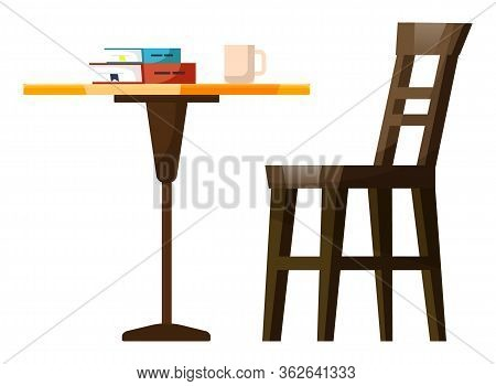 Restaurant Place With Wooden Chair And Table Symbols. Books And Cup Of Beverage Symbols In Coffeehou