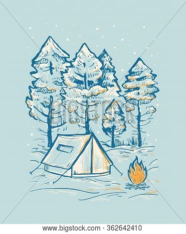 Sketch Vector Of A Winter Coniferous Forest, Tent And Bonfire. Romantic Hand Drawn Blue Vector Illus
