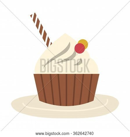 Confection In Bakery. Tasty Cupcake Isolated On White Background. Cake Decoration With White Cream O