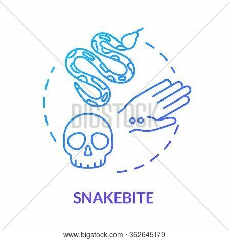 Snakebite, Wound Concept Icon. Poisonous Reptile, Wild Animal Bite, Intoxication, Septicemia, Blood