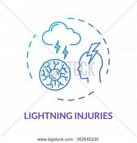 Lightning, Electric Injury Concept Icon. Trauma Cause, Sky Phenomenon, Traumatic Factor, Thunderbolt