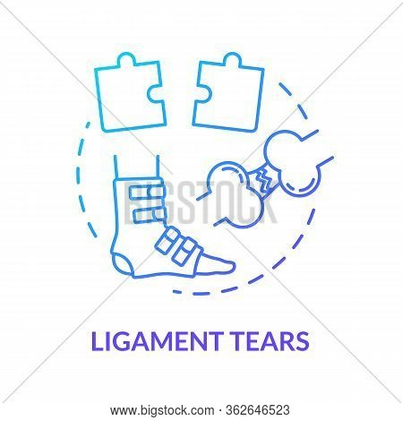 Ligament Tears, Foot Tendon Rupture Concept Icon. Leg Muscle Injury, Feet Joint Trauma Treatment Met