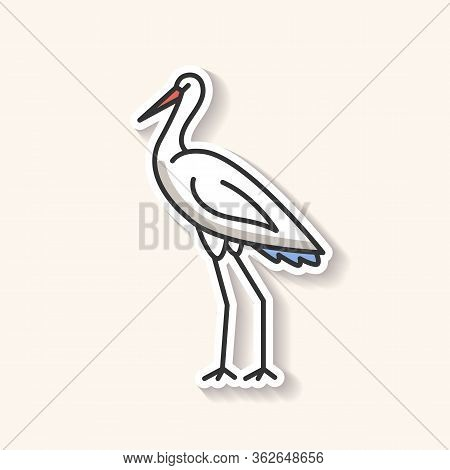 Crane Bird Patch. Heron Standing In Pose. Elegant Animal In Stance. Japanese Bird With Beak And Long
