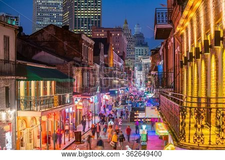 Pubs And Bars With Neon Lights In The French Quarter, New Orleans