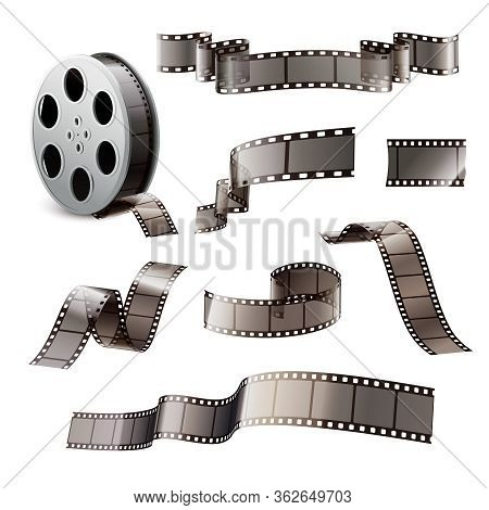 Film Stripes Reels Realistic Set Of Isolated Images On Blank Background With Reel Curves And Bobbin