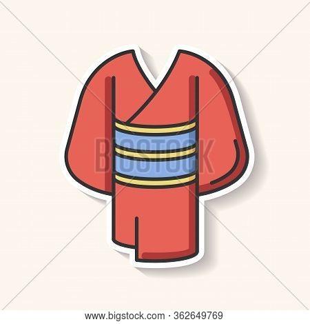 Kimono Patch. Traditional Japanese Dress With Obi Belt. Oriental Yukata. Ethnic Asian Clothing. Maik