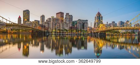 Panorama Of Downtown Pittsburgh At Twilight