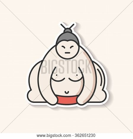 Sumo Patch. Traditional Asian Wrestler. Shirtless Large Athlete In Power Stance. Japanese Ringer Rea