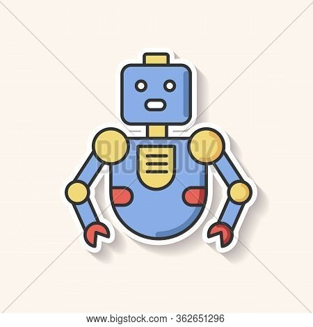 Robot Patch. Innovative Technology. Artificial Intelligence. Futuristic Children Toy. Cute Cyborg Ma