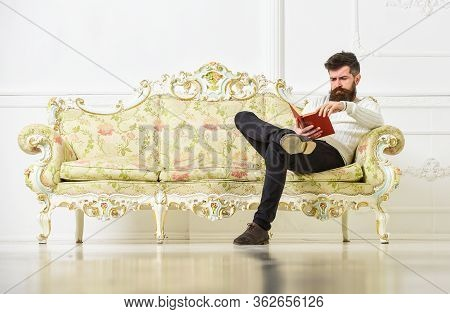Lecturer Sit On Sofa And Reading Book, White Wall Background. Man With Beard And Mustache Spends Lei