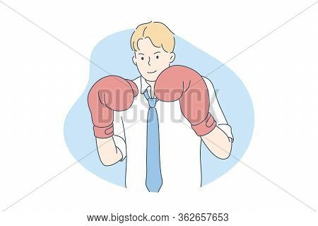 Competition, Boxing, Business Concept. Young Confident Smiling Businessman Competitor Cartoon Charac